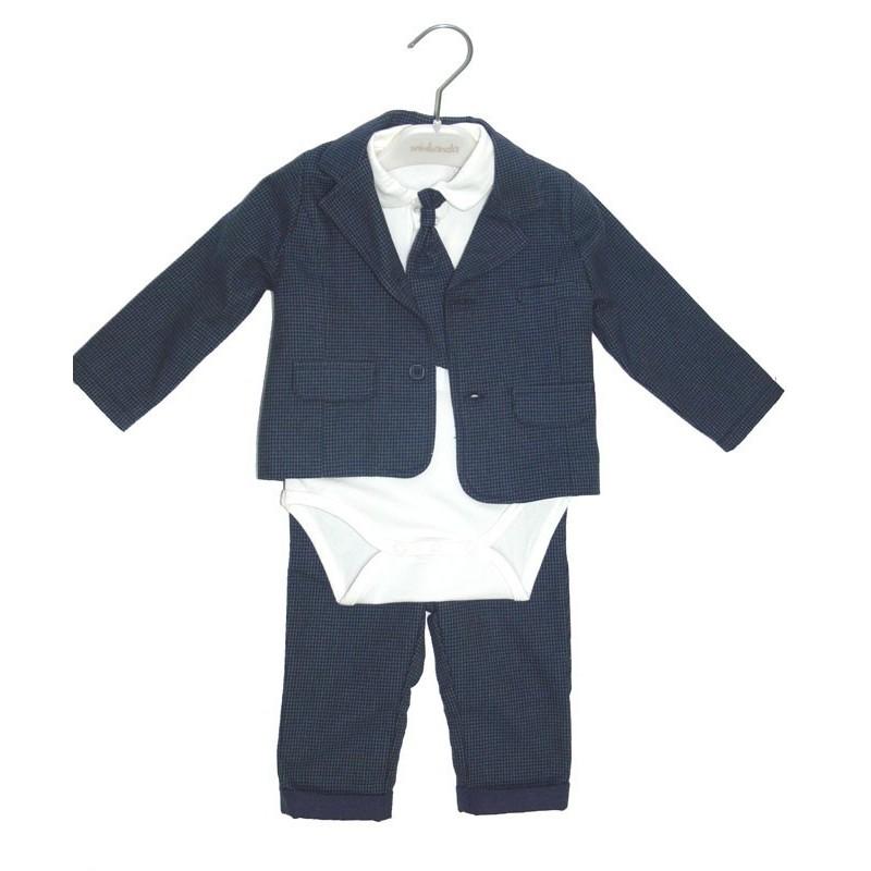 Blue suit pied de poule baptism newborn tg. 12 Months