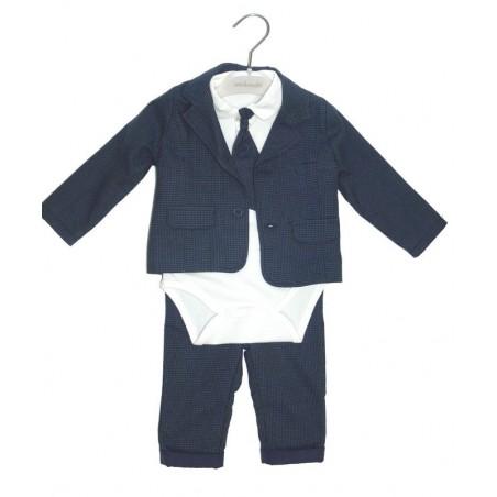 Completo blu pied de poule battesimo neonato tg. 12 Mesi