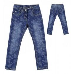 Sarabanda 0L473 Stretch slim jeans flowered girl