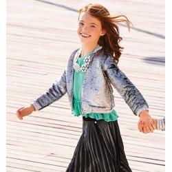 Sarabanda 0U422 Girl Silver Sequin Sweatshirt