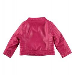 Sarabanda 0S247 Coat ecopelle fuxia girl