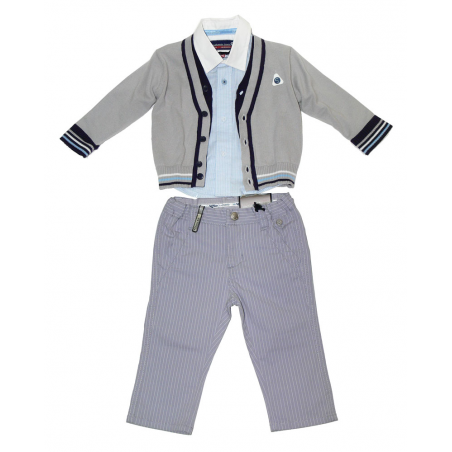 Sarabanda Completo elegante grigio neonato Tg. 12 mesi