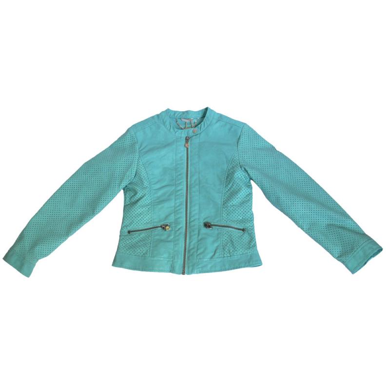 Sarabanda 0Q481 Green Faux Leather Jacket Girl